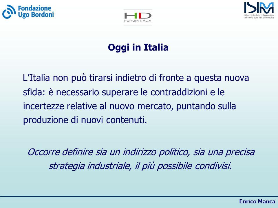Enrico Manca Oggi in Italia LItalia non può tirarsi indietro di fronte a questa nuova sfida: è necessario superare le contraddizioni e le incertezze relative al nuovo mercato, puntando sulla produzione di nuovi contenuti.