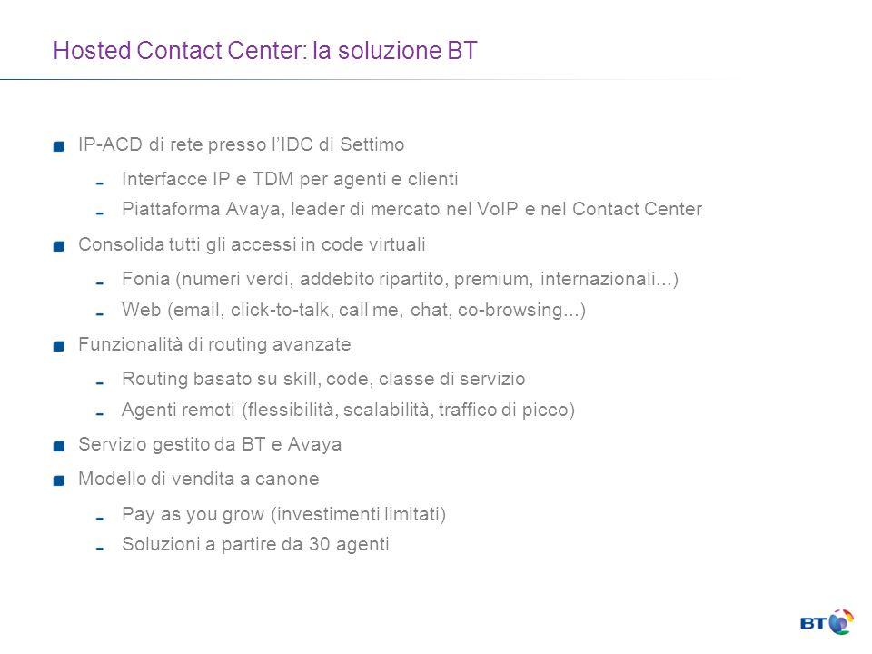 Hosted Contact Center: la soluzione BT IP-ACD di rete presso lIDC di Settimo Interfacce IP e TDM per agenti e clienti Piattaforma Avaya, leader di mercato nel VoIP e nel Contact Center Consolida tutti gli accessi in code virtuali Fonia (numeri verdi, addebito ripartito, premium, internazionali...) Web (email, click-to-talk, call me, chat, co-browsing...) Funzionalità di routing avanzate Routing basato su skill, code, classe di servizio Agenti remoti (flessibilità, scalabilità, traffico di picco) Servizio gestito da BT e Avaya Modello di vendita a canone Pay as you grow (investimenti limitati) Soluzioni a partire da 30 agenti