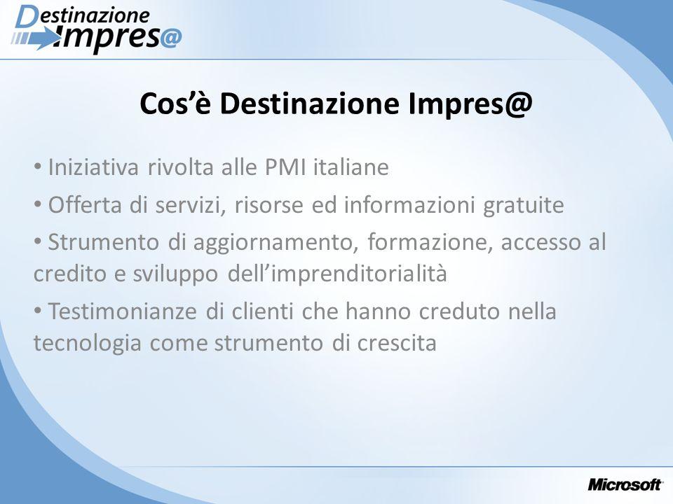 Cosè Destinazione Impres@ Iniziativa rivolta alle PMI italiane Offerta di servizi, risorse ed informazioni gratuite Strumento di aggiornamento, formaz