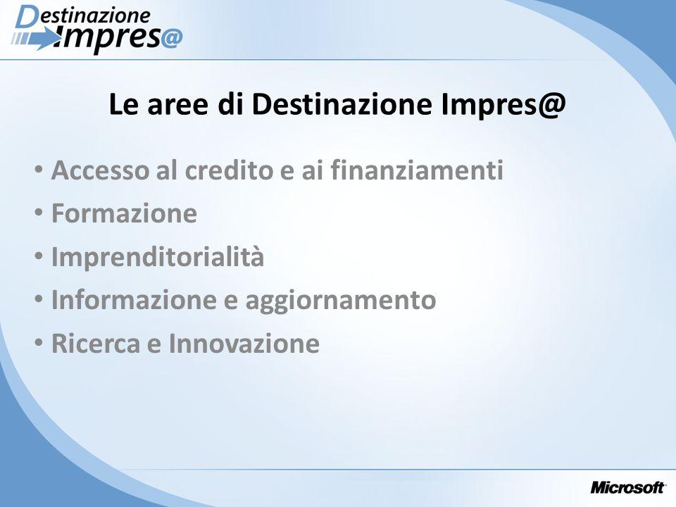 Le aree di Destinazione Impres@ Accesso al credito e ai finanziamenti Formazione Imprenditorialità Informazione e aggiornamento Ricerca e Innovazione