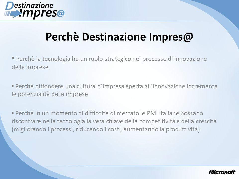 Perchè Destinazione Impres@ Perchè la tecnologia ha un ruolo strategico nel processo di innovazione delle imprese Perchè diffondere una cultura dimpre