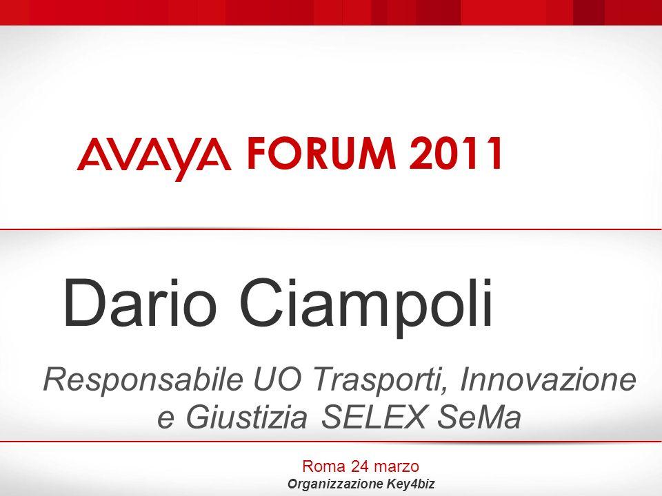 AVAYA Forum 2011 Roma, 24.03.2011 Innovazione: Modelli consolidati e Centralità della persona Dario Ciampoli Responsabile O.U.