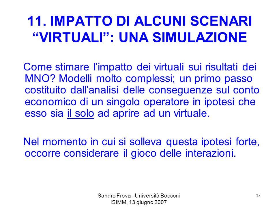 Sandro Frova - Università Bocconi ISIMM, 13 giugno 2007 12 11. IMPATTO DI ALCUNI SCENARI VIRTUALI: UNA SIMULAZIONE Come stimare limpatto dei virtuali