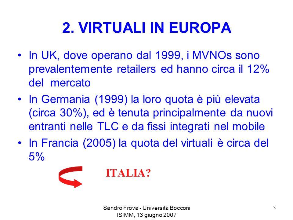 Sandro Frova - Università Bocconi ISIMM, 13 giugno 2007 3 2. VIRTUALI IN EUROPA In UK, dove operano dal 1999, i MVNOs sono prevalentemente retailers e
