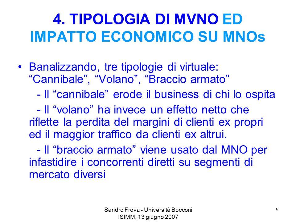 Sandro Frova - Università Bocconi ISIMM, 13 giugno 2007 5 4. TIPOLOGIA DI MVNO ED IMPATTO ECONOMICO SU MNOs Banalizzando, tre tipologie di virtuale: C