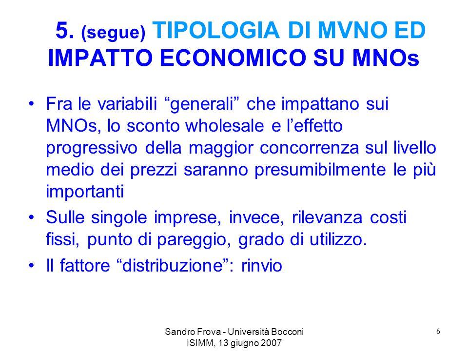 Sandro Frova - Università Bocconi ISIMM, 13 giugno 2007 6 5. (segue) TIPOLOGIA DI MVNO ED IMPATTO ECONOMICO SU MNOs Fra le variabili generali che impa