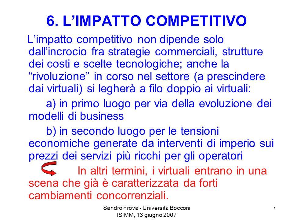 Sandro Frova - Università Bocconi ISIMM, 13 giugno 2007 7 6. LIMPATTO COMPETITIVO Limpatto competitivo non dipende solo dallincrocio fra strategie com