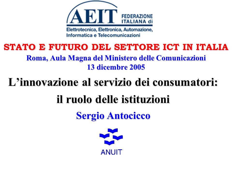 STATO E FUTURO DEL SETTORE ICT IN ITALIA Roma, Aula Magna del Ministero delle Comunicazioni 13 dicembre 2005 Linnovazione al servizio dei consumatori: il ruolo delle istituzioni Sergio Antocicco