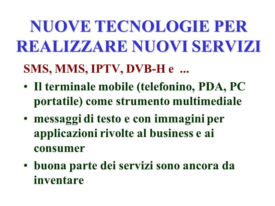 NUOVE TECNOLOGIE PER REALIZZARE NUOVI SERVIZI SMS, MMS, IPTV, DVB-H e...