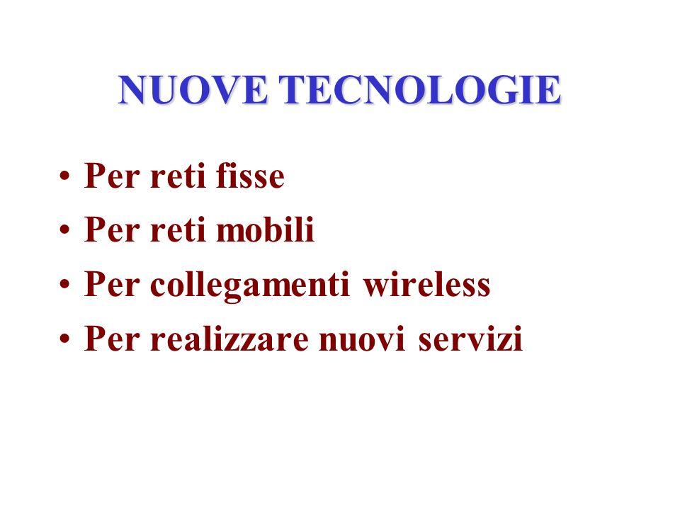 NUOVE TECNOLOGIE Per reti fisse Per reti mobili Per collegamenti wireless Per realizzare nuovi servizi