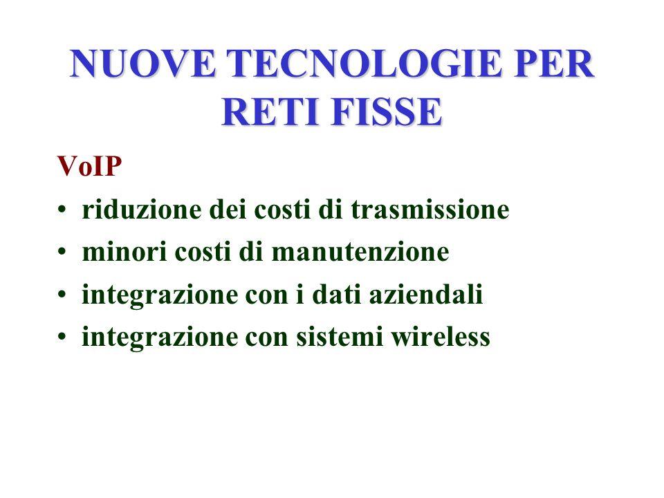 NUOVE TECNOLOGIE PER RETI FISSE VoIP riduzione dei costi di trasmissione minori costi di manutenzione integrazione con i dati aziendali integrazione con sistemi wireless