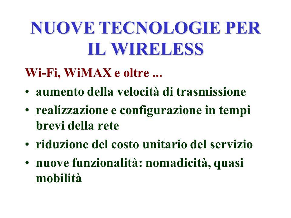 RUOLO DELLE ISTITUZIONI Rimuovere i blocchi esistenti e non giustificabili per il Wi-Fi la limitazione dello spazio confinato è stata tolta (non doveva essere neppure messa) per il WiMAX si è aperta una timida sperimentazione mentre in altri Paesi si sta sviluppando velocemente non si deve limitare la mobilità per evitare di dispiacere i servizi mobili
