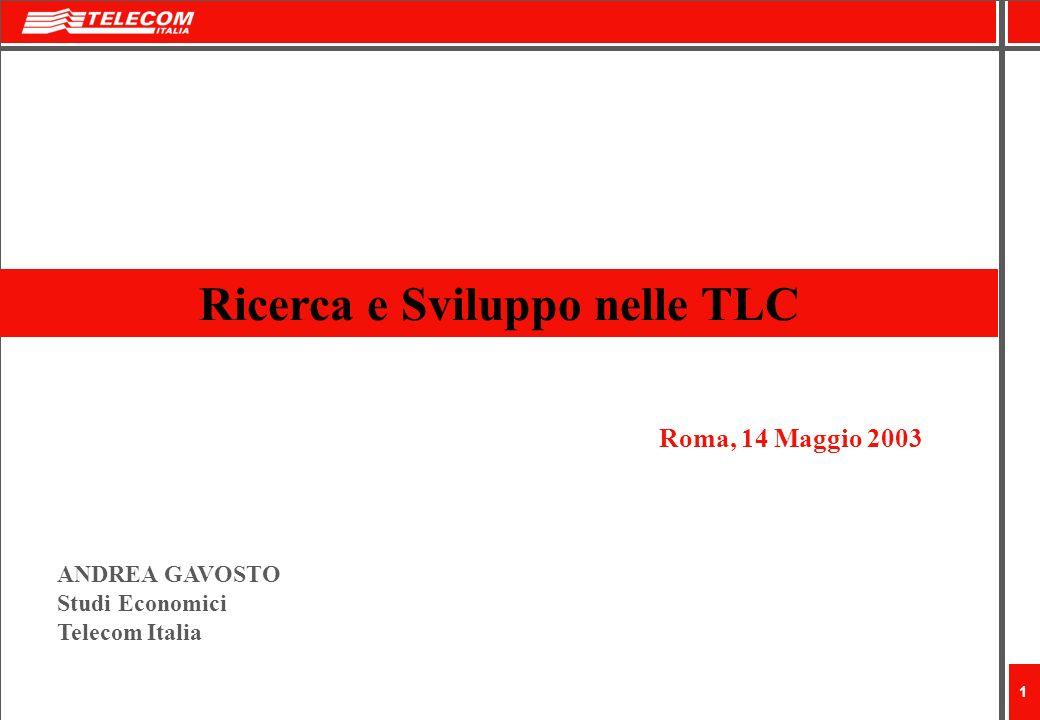 1 Ricerca e Sviluppo nelle TLC Roma, 14 Maggio 2003 ANDREA GAVOSTO Studi Economici Telecom Italia
