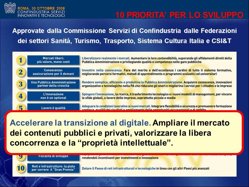 ROMA, 30 OTTOBRE 2008 10 PRIORITA PER LO SVILUPPO Approvate dalla Commissione Servizi di Confindustria dalle Federazioni dei settori Sanità, Turismo, Trasporto, Sistema Cultura Italia e CSI&T \ Accelerare la transizione al digitale.