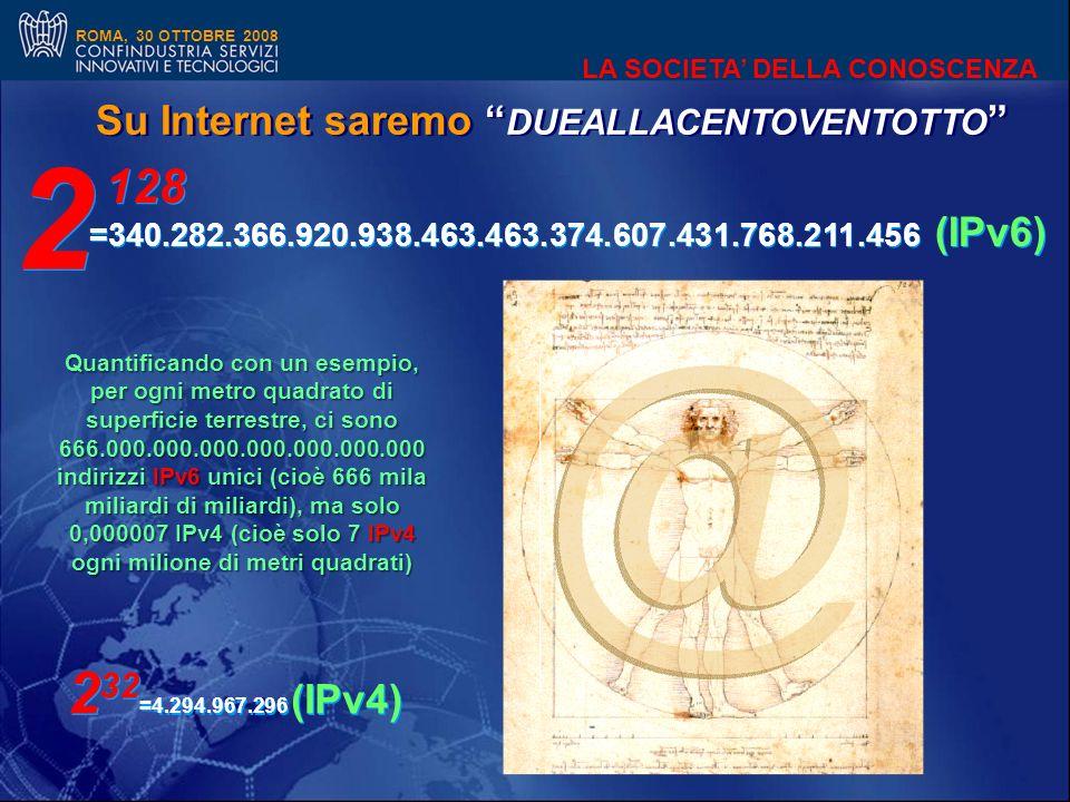 ROMA, 30 OTTOBRE 2008 LA SOCIETA DELLA CONOSCENZA Su Internet saremo DUEALLACENTOVENTOTTO =340.282.366.920.938.463.463.374.607.431.768.211.456 (IPv6) 2 32 =4.294.967.296 (IPv4) Quantificando con un esempio, per ogni metro quadrato di superficie terrestre, ci sono 666.000.000.000.000.000.000.000 indirizzi IPv6 unici (cioè 666 mila miliardi di miliardi), ma solo 0,000007 IPv4 (cioè solo 7 IPv4 ogni milione di metri quadrati) 2 2 128