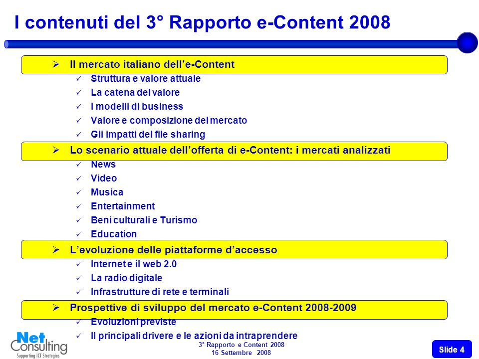 3° Rapporto e Content 2008 16 Settembre 2008 Slide 3 Numero di Famiglie X 1000 32.9% 32.5% 42.3% 34.8% 5.500 5.880 6.200 6.600 6.950 Fonte: NetConsulting Numero di Famiglie X 1000 La diffusione della piattaforma digitale e di quella satellitare in Italia (2005-2009 E) DTTSAT 6.9% 5.4% 6.5% 5.3%