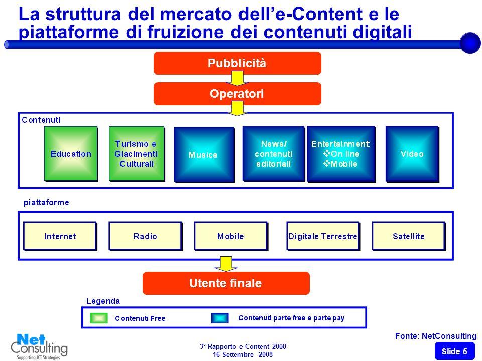 3° Rapporto e Content 2008 16 Settembre 2008 Slide 5 La struttura del mercato delle-Content e le piattaforme di fruizione dei contenuti digitali Fonte: NetConsulting Operatori Utente finale Pubblicità