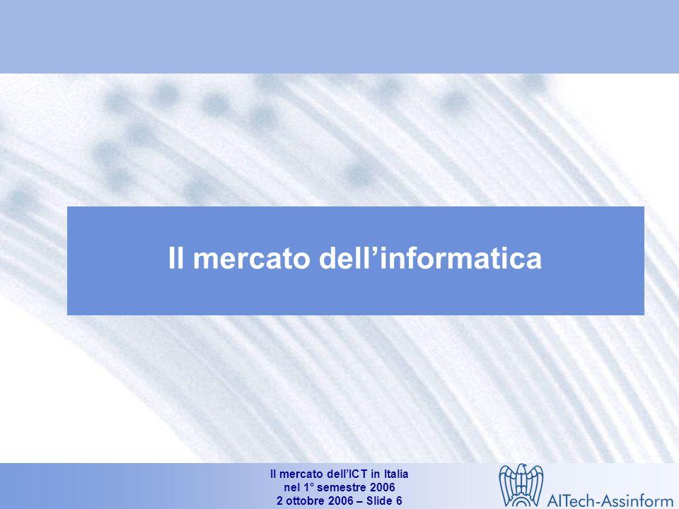 Il mercato dellICT in Italia nel 1° semestre 2006 2 ottobre 2006 – Slide 5 Il mercato dellICT in Italia nel 1° semestre 2006 Giancarlo Capitani Amministratore Delegato NetConsulting Conferenza Stampa AITech-Assinform Milano, 2 ottobre 2006