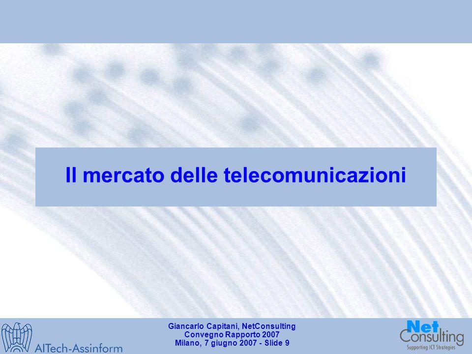Giancarlo Capitani, NetConsulting Convegno Rapporto 2007 Milano, 7 giugno 2007 - Slide 8 La diffusione delle nuove tecnologie nelle famiglie italiane (2006) Quote % del segmento Consumer sul mercato totale dei PC in Italia (2006) Dati in unità e variazioni % 4.323.200 4.979.000 +15.2% +28.2% +14.1% 1.092.000 (25,2%) 1.400.000 (32.3%) Fonte: AITech - Assinform / NetConsulting Famiglie per beni tecnologici posseduti in Italia (2006) % sul totale Decoder digitale terrestre CellularePCConnessione a banda larga Internet Fonte: ISTAT