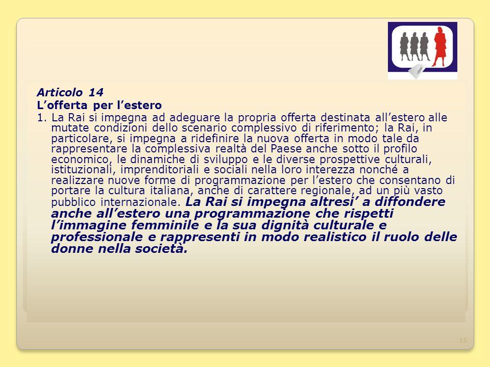 15 Articolo 14 Lofferta per lestero 1.