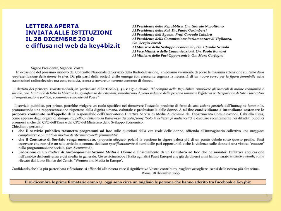 3 LETTERA APERTA INVIATA ALLE ISTITUZIONI IL 28 DICEMBRE 2010 e diffusa nel web da key4biz.it
