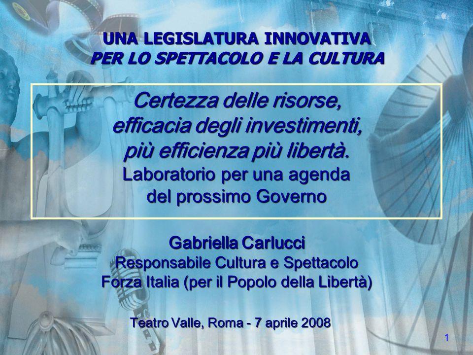 UNA LEGISLATURA INNOVATIVA PER LO SPETTACOLO E LA CULTURA Modernizzare innovare liberalizzare.