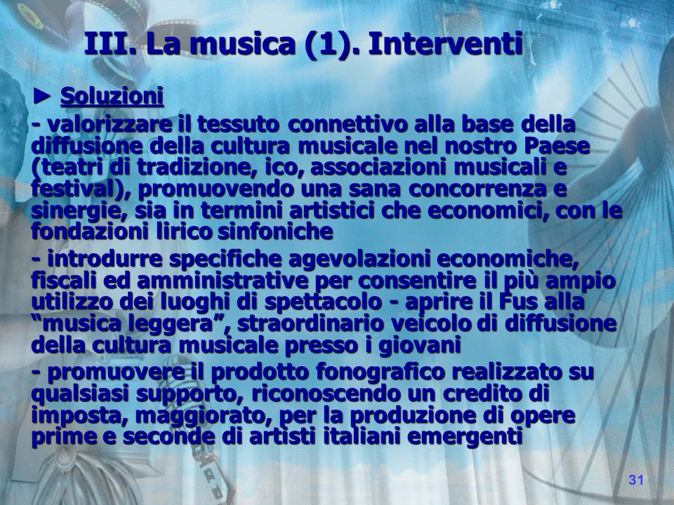 III. La musica (1).