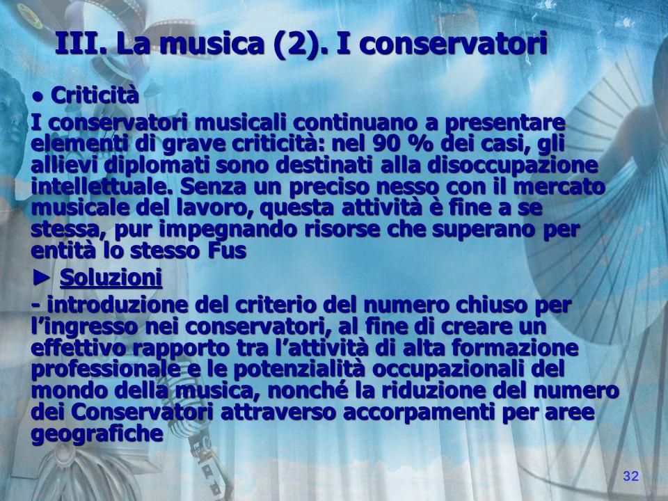 III. La musica (2).