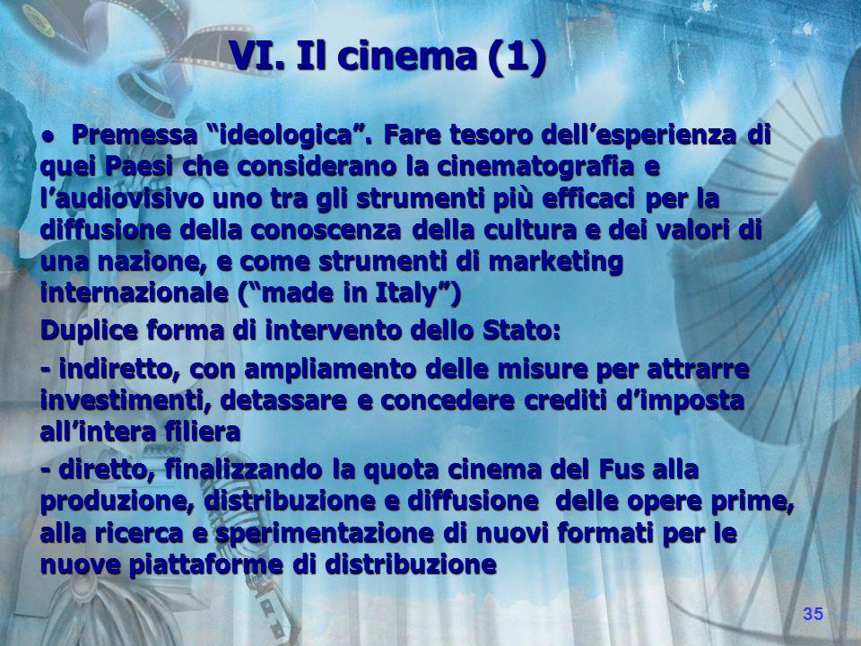 VI. Il cinema (1) Premessa ideologica.