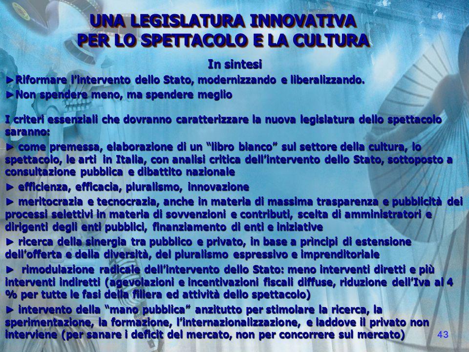 In sintesi Riformare lintervento dello Stato, modernizzando e liberalizzando.