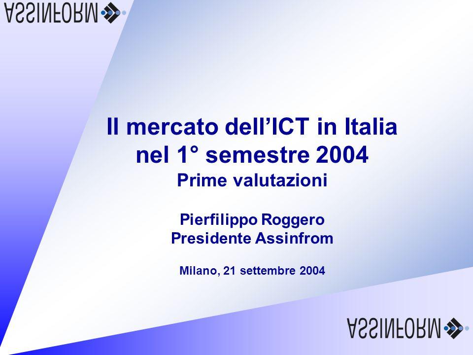 Il mercato dellICT in Italia nel 1° semestre 2004 21 settembre 2004 – Slide 12 Andamento delle vendite di Personal Computer in valore e in unità (1°H 2004/ 1° H 2003) Fonte: Assinform / NetConsulting