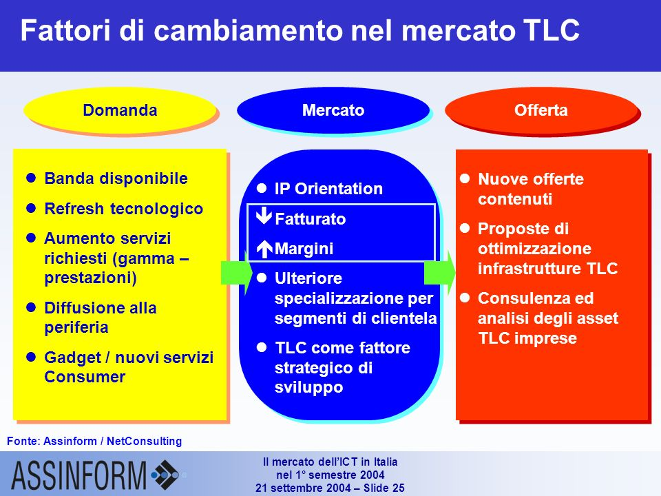 Il mercato dellICT in Italia nel 1° semestre 2004 21 settembre 2004 – Slide 24 Diffusione degli accessi a Banda Larga (Fibra ottica e xDSL - 1° H 2003 - 1° H 2004) 111.1% Valori in migliaia di utenti attivi e in % Tipologia di connessione (1°H 2003) Fonte: Assinform / NetConsulting Tipologia di connessione (1°H 2004)