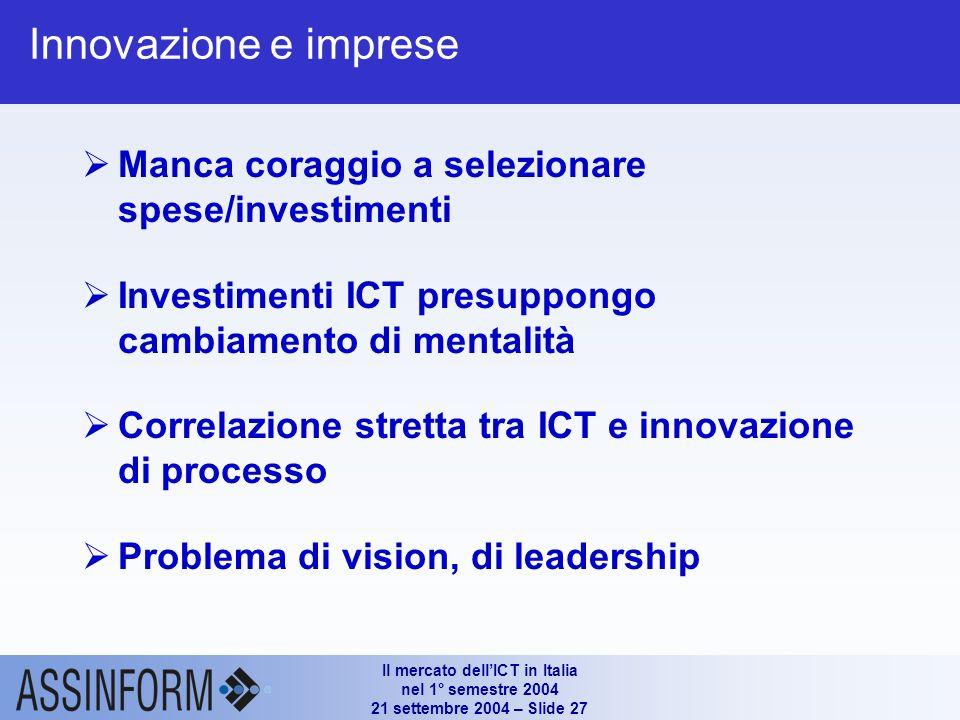 Il mercato dellICT in Italia nel 1° semestre 2004 21 settembre 2004 – Slide 26 Il mercato dellICT in Italia nel 1° semestre 2004 Riflessioni Assinform