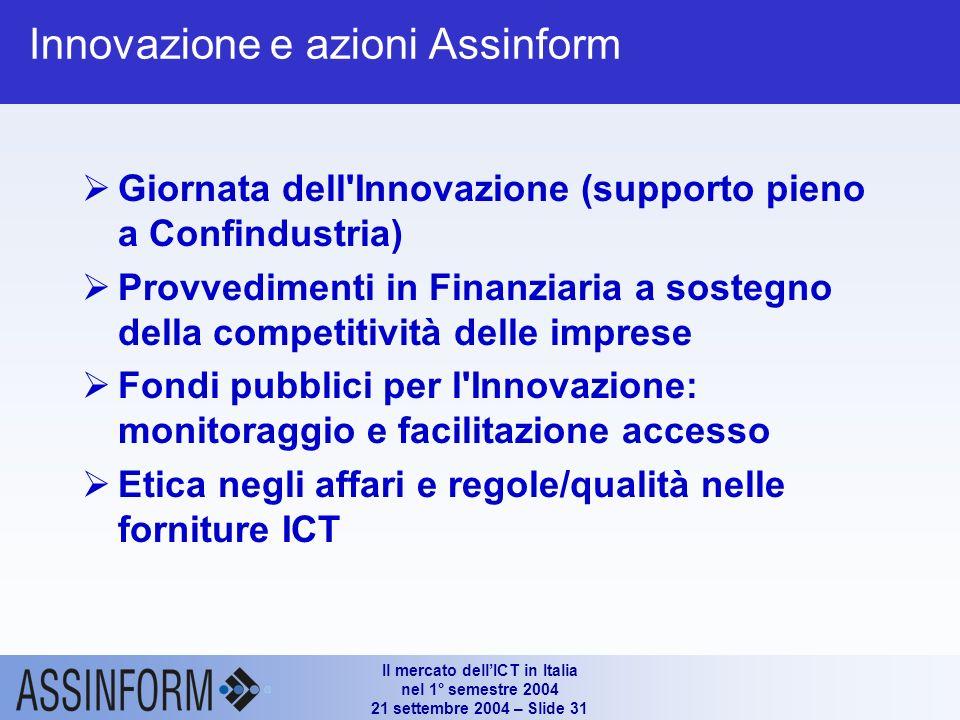 Il mercato dellICT in Italia nel 1° semestre 2004 21 settembre 2004 – Slide 30 Innovazione e settore ICT Triennio 2002/2004 molto difficile Perdita oc