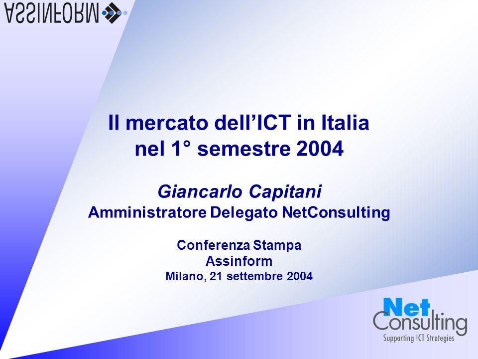 Il mercato dellICT in Italia nel 1° semestre 2004 21 settembre 2004 – Slide 7 Prime valutazioni Crescita debole, informatica ancora ferma Investimenti