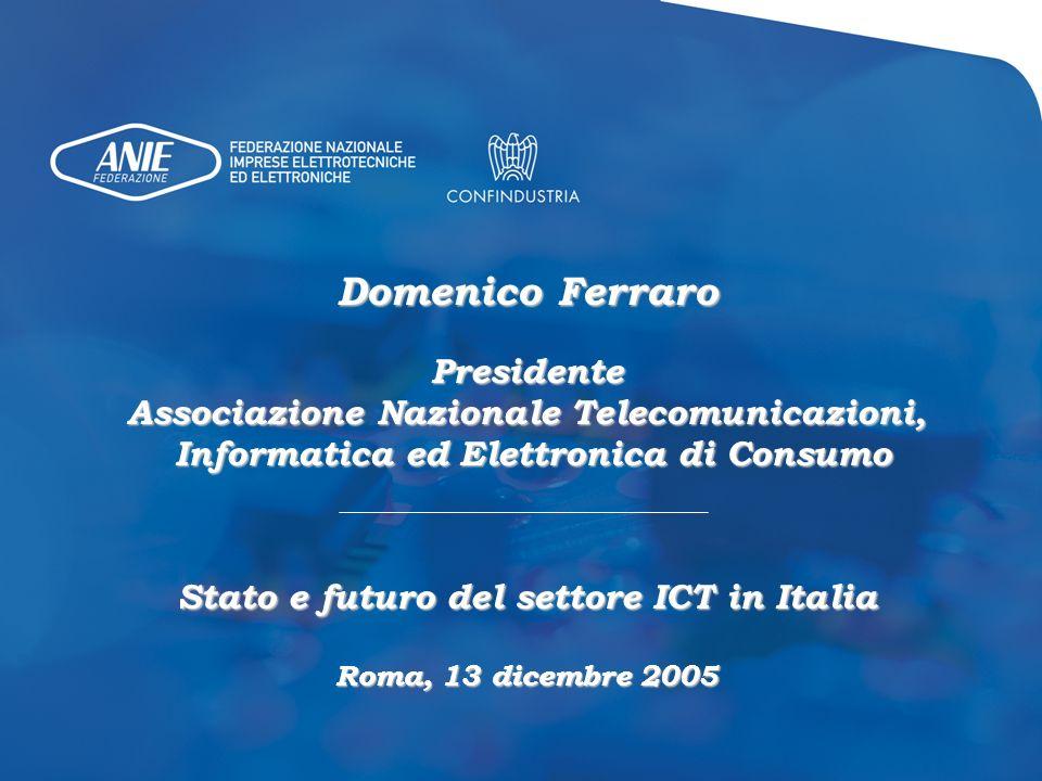 Domenico Ferraro Presidente Associazione Nazionale Telecomunicazioni, Informatica ed Elettronica di Consumo Informatica ed Elettronica di Consumo Stat