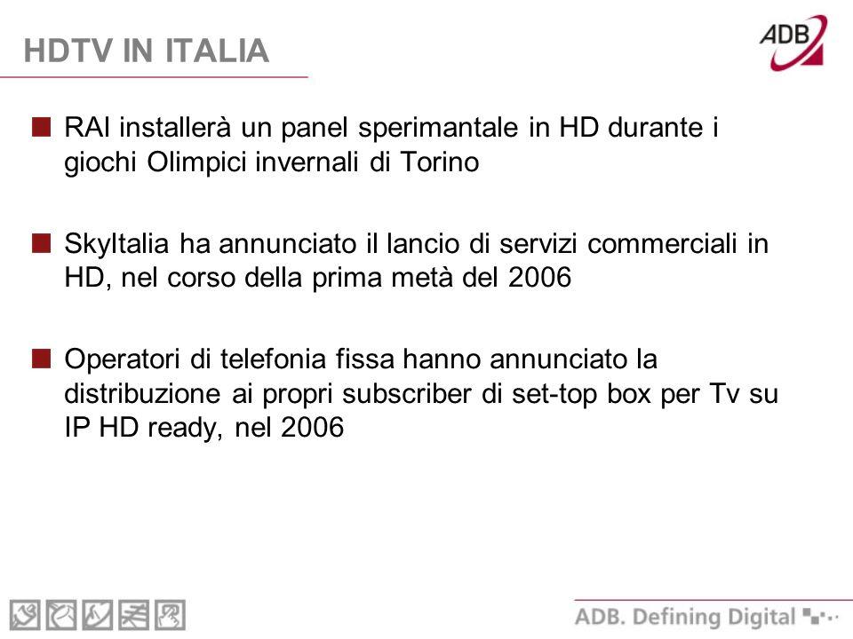 HDTV IN ITALIA RAI installerà un panel sperimantale in HD durante i giochi Olimpici invernali di Torino SkyItalia ha annunciato il lancio di servizi commerciali in HD, nel corso della prima metà del 2006 Operatori di telefonia fissa hanno annunciato la distribuzione ai propri subscriber di set-top box per Tv su IP HD ready, nel 2006