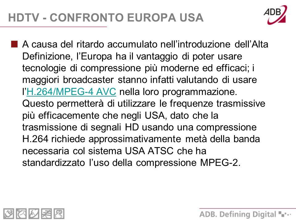 HDTV - CONFRONTO EUROPA USA A causa del ritardo accumulato nellintroduzione dellAlta Definizione, lEuropa ha il vantaggio di poter usare tecnologie di compressione più moderne ed efficaci; i maggiori broadcaster stanno infatti valutando di usare lH.264/MPEG-4 AVC nella loro programmazione.