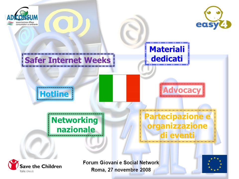 Forum Giovani e Social Network Roma, 27 novembre 2008 Hotline Safer Internet Weeks Materiali dedicati Partecipazione e organizzazione di eventi Advoca