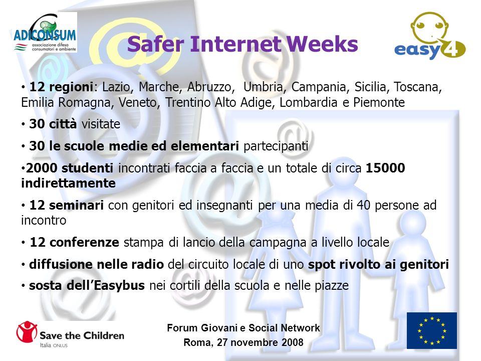 Forum Giovani e Social Network Roma, 27 novembre 2008 Safer Internet Weeks 12 regioni: Lazio, Marche, Abruzzo, Umbria, Campania, Sicilia, Toscana, Emi
