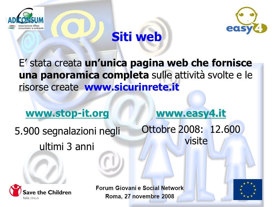 Forum Giovani e Social Network Roma, 27 novembre 2008 Siti web www.stop-it.org 5.900 segnalazioni negli ultimi 3 anni www.easy4.it Ottobre 2008: 12.60