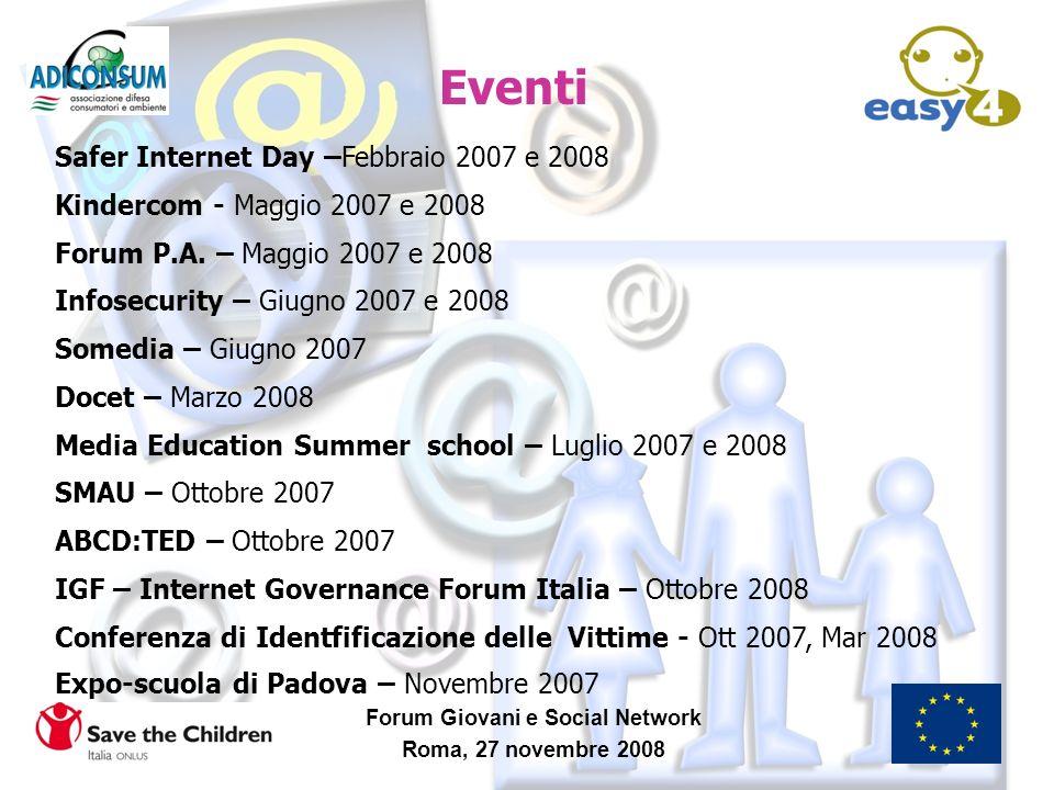 Forum Giovani e Social Network Roma, 27 novembre 2008 Safer Internet Day –Febbraio 2007 e 2008 Kindercom - Maggio 2007 e 2008 Forum P.A. – Maggio 2007