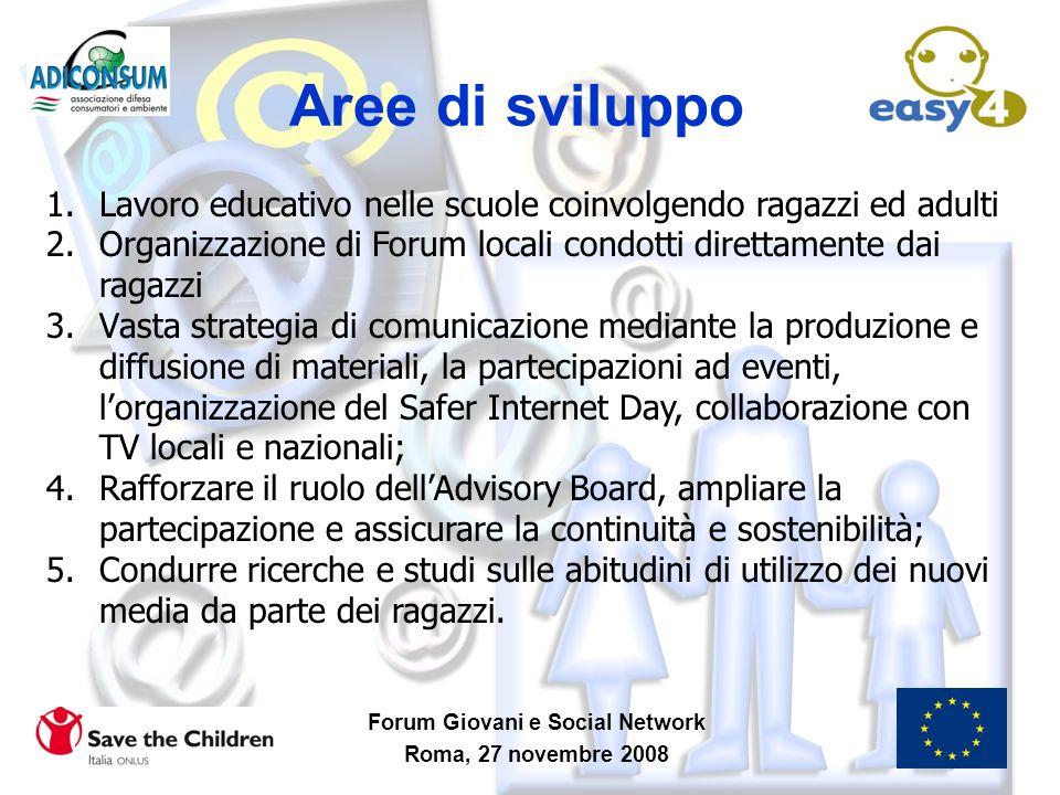 Aree di sviluppo Forum Giovani e Social Network Roma, 27 novembre 2008 1.Lavoro educativo nelle scuole coinvolgendo ragazzi ed adulti 2.Organizzazione