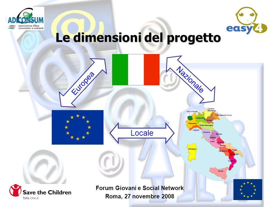 Le dimensioni del progetto Forum Giovani e Social Network Roma, 27 novembre 2008 Europea Nazionale Locale