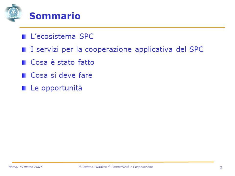 2 Roma, 19 marzo 2007 Il Sistema Pubblico di Connettività e Cooperazione Sommario Lecosistema SPC I servizi per la cooperazione applicativa del SPC Co
