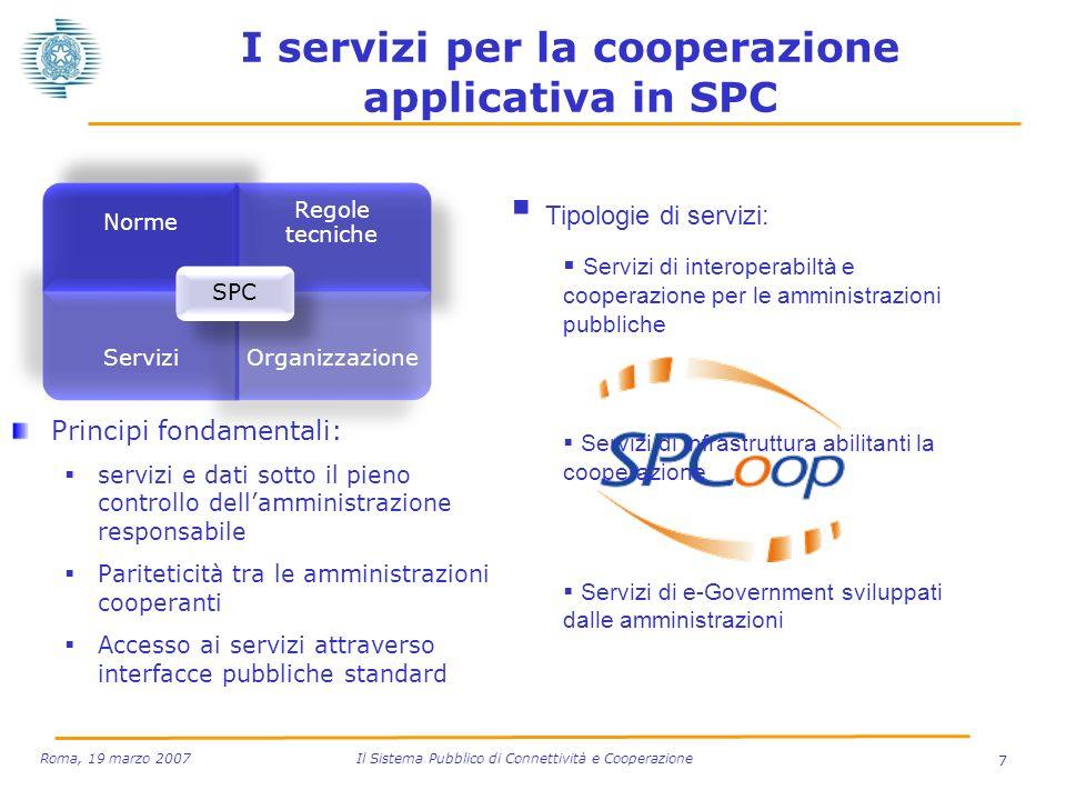 I servizi per la cooperazione applicativa in SPC Principi fondamentali: servizi e dati sotto il pieno controllo dellamministrazione responsabile Parit