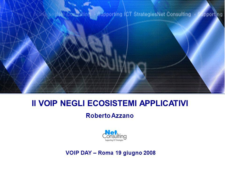 Il VOIP NEGLI ECOSISTEMI APPLICATIVI Roberto Azzano VOIP DAY – Roma 19 giugno 2008