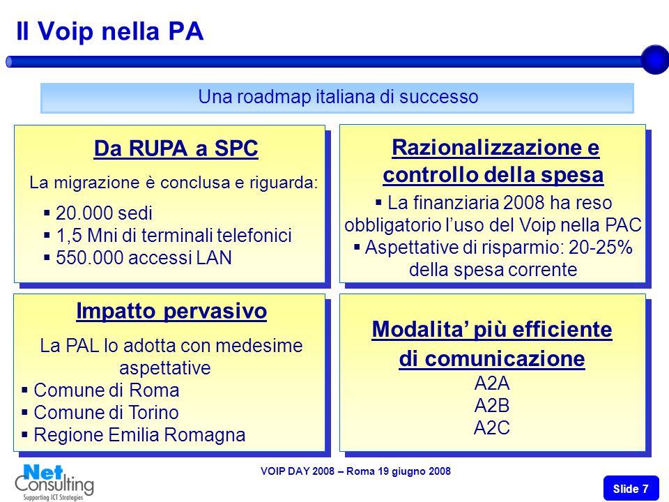 VOIP DAY 2008 – Roma 19 giugno 2008 Slide 7 Il Voip nella PA Una roadmap italiana di successo Da RUPA a SPC La migrazione è conclusa e riguarda: 20.000 sedi 1,5 Mni di terminali telefonici 550.000 accessi LAN Impatto pervasivo La PAL lo adotta con medesime aspettative Comune di Roma Comune di Torino Regione Emilia Romagna Razionalizzazione e controllo della spesa La finanziaria 2008 ha reso obbligatorio luso del Voip nella PAC Aspettative di risparmio: 20-25% della spesa corrente Modalita più efficiente di comunicazione A2A A2B A2C