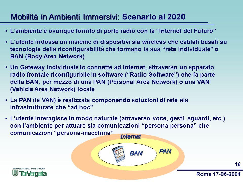 Roma 17-06-2004 16 Lambiente è ovunque fornito di porte radio con la Internet del Futuro Lutente indossa un insieme di dispositivi sia wireless che cablati basati su tecnologie della riconfigurabilità che formano la sua rete individuale o BAN (Body Area Network) Un Gateway individuale lo connette ad Internet, attraverso un apparato radio frontale riconfigurbile in software (Radio Software) che fa parte della BAN, per mezzo di una PAN (Personal Area Network) o una VAN (Vehicle Area Network) locale La PAN (la VAN) è realizzata componendo soluzioni di rete sia infrastrutturate che ad hoc Lutente interagisce in modo naturale (attraverso voce, gesti, sguardi, etc.) con lambiente per attuare sia comunicazioni persona-persona che comunicazioni persona-macchina PAN Internet Mobilità in Ambienti Immersivi: Mobilità in Ambienti Immersivi: Scenario al 2020 BAN