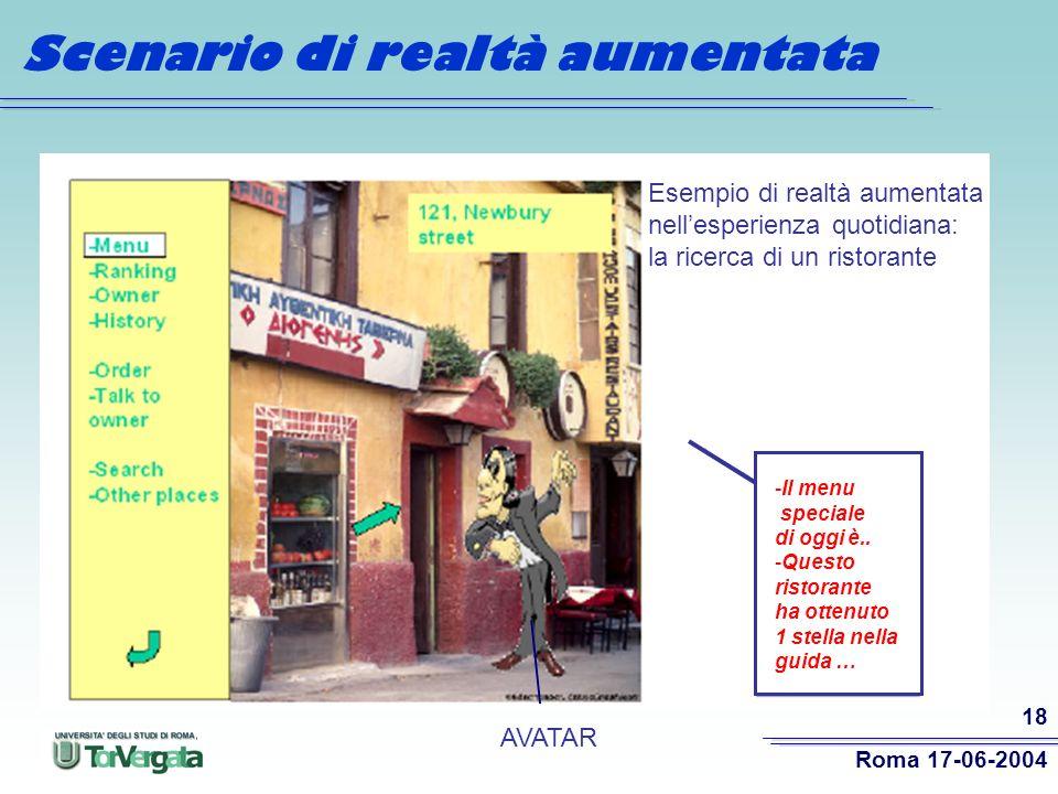 Roma 17-06-2004 18 Scenario di realtà aumentata Esempio di realtà aumentata nellesperienza quotidiana: la ricerca di un ristorante -Il menu speciale di oggi è..